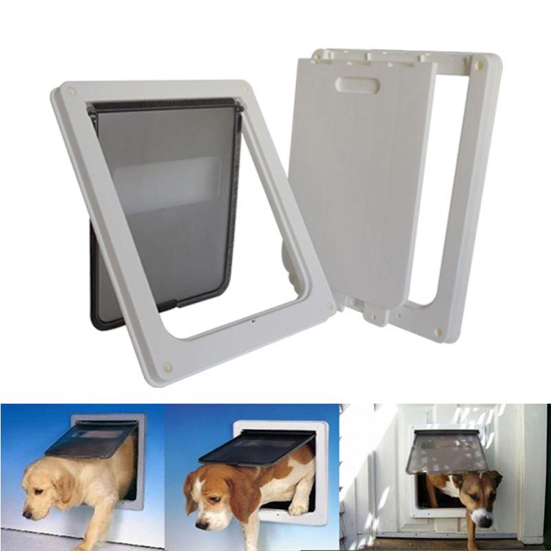 Large Pet Cat Door Puppy Dog Lock Lockable Safe Flap Door Gate Lockable  Security Dog Cat Kitty Door For Small Medium Dogs   Kitty Kondo